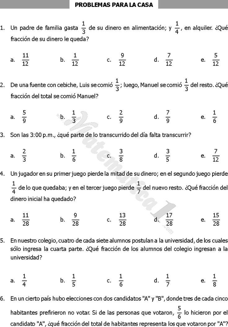 operaciones combinadas de fracciones para primaria - Buscar con Google