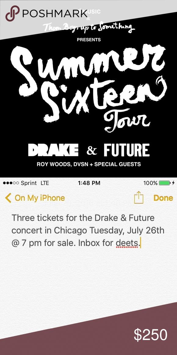 "Drake and Future ""Summer Sixteen"" Concert tickets I have 3 (NEED TO SELL TOGETHER) Drake and Future concert tickets that my friends and I can no longer make. The concert is in Chicago on Tuesday July 26. The tickets are for the Lower Level (close by the stage) Section 102. We are selling all three together (NO SEPARATING, ALL THREE MUST BE BOUGHT TOGETHER) We originally paid $370 for each ticket and are selling them at a really good price so please no low balling. ❗️SERIOUS INQUIRIES ONLY❗️…"