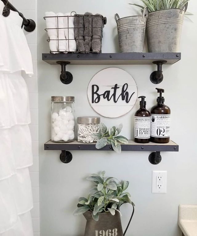 Farmhouse Style Bathroom With Open Industrial Wood Shelving