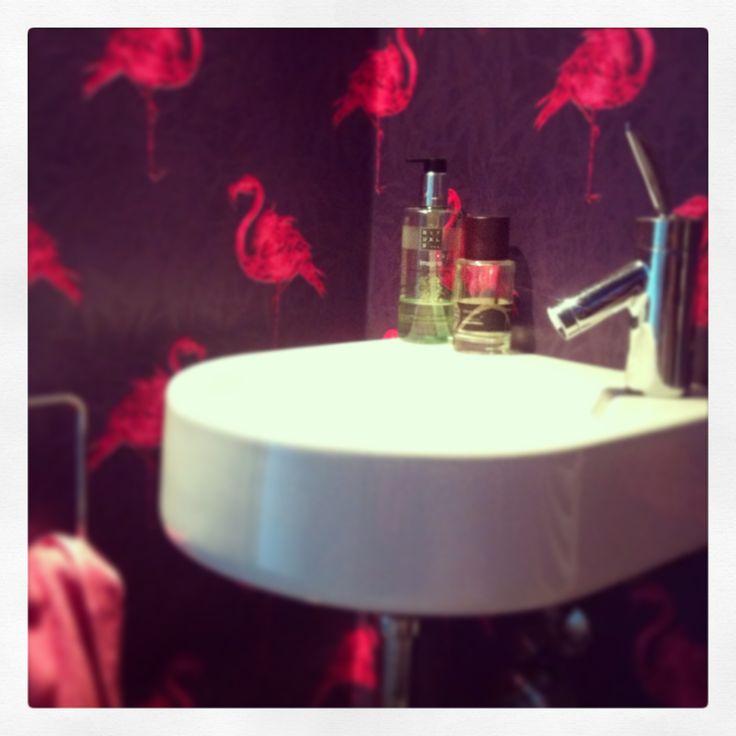#downstairs #toilet #wallpaper #flamingo