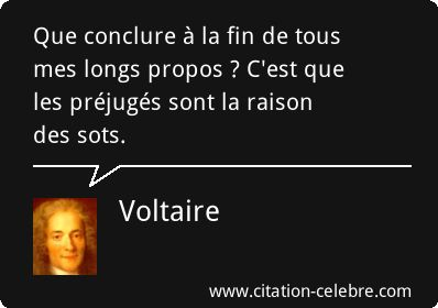 Voltaire : Que conclure à la fin de tous mes longs propos ? C'est que les préjugés sont la raison des sots.