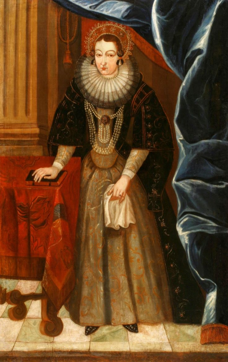 Portrait of Gryzelda Sapieha née Wodyńska  (~1606-1633) by Anonymous, 1620s (PD-art/old), National Arts Museum of the Republic of Belarus, dressed according to conteporary court fashion of the Vasas inspired by Spanish saya (court dress)