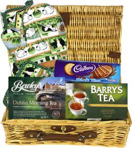 Food Ireland Irish Morning Tea Basket $43.99 - Bewleys Dublin Morning Tea, Barry's Irish Breakfast Tea, Countryside Mitt & Pot Holder and Cadburys Rich Tea Cookies. Presented in a luxury lined wicker basket.