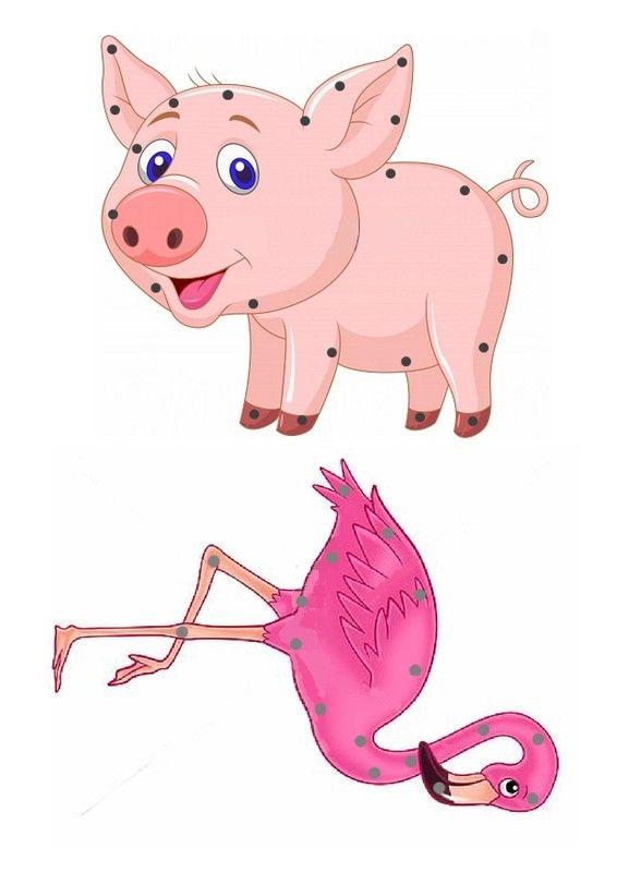 * Borduurkaart varken / Gabarit - Cochon et Flamant rose à lacer
