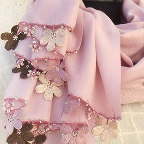 Turkish OYA Lace - Pashmina stole - Pale Pink by DaisyCappadocia on Etsy