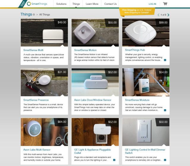 "SmartThings: an online store that features a curated selection of ""Connected Home"" products to help consumers get up and running."