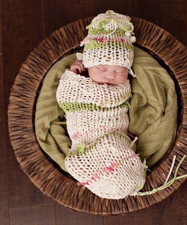 Hand-Knit Lime Stripe