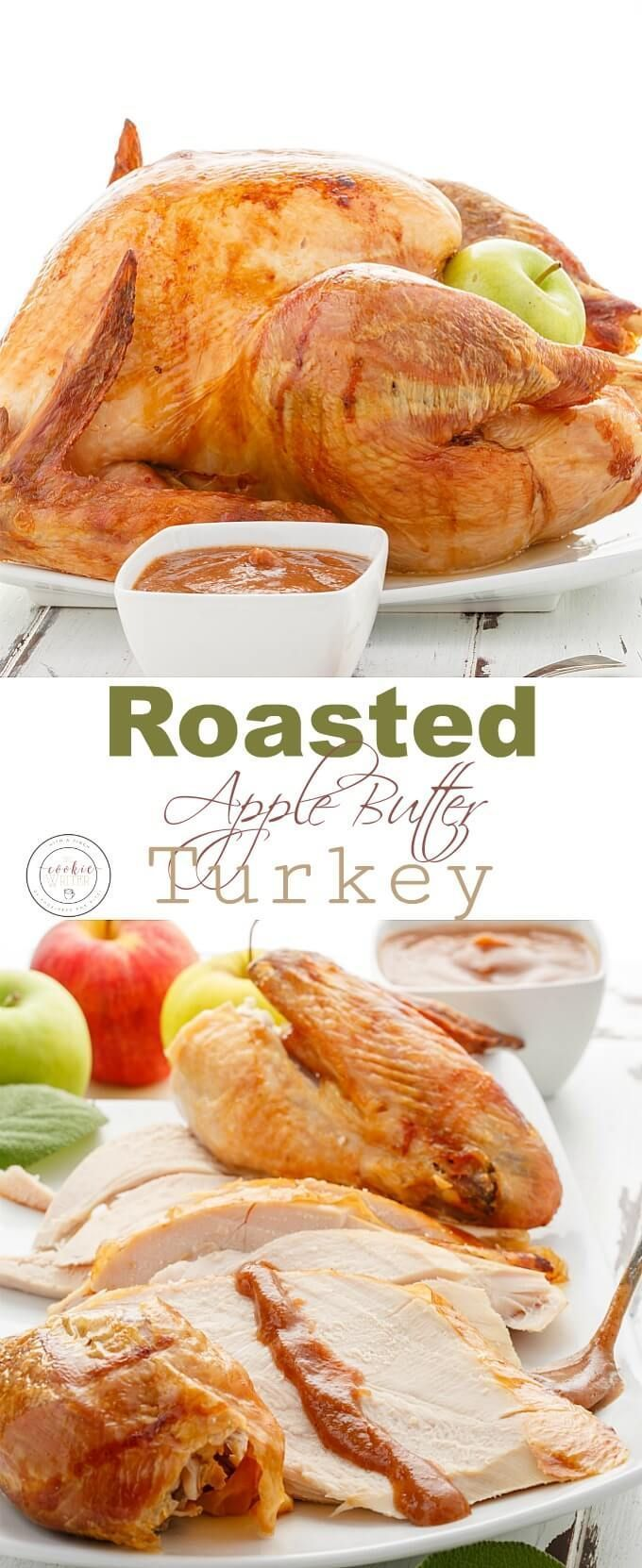 Roasted Apple Butter Turkey with Turkey Bacon Scalloped Potatoes | http://thecookiewriter.com | @thecookiewriter | #sponsored | Canadian Thanksgiving will be spectacular this year with Canadian Turkey! The crispiest whole turkey imaginable with a simple brining method, followed by the dry method. It makes all the difference! Roasted, juicy, gluten-free, and served with apple butter instead of gravy, you will surely have minimal leftovers! #turkey #CanadianThanksgiving #Easter #christmas