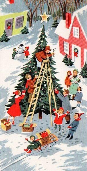 Christmas scene - vintage Christmas card This makes me think of Harbor Springs, MI at Christmas time. :)