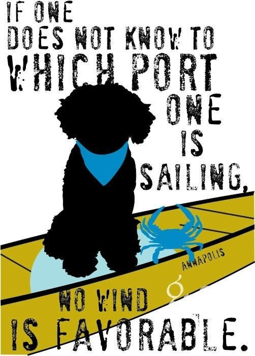 Nautical Portuguese Water Dog Art Print  by GoingPlaces2 on Etsy, $14.00