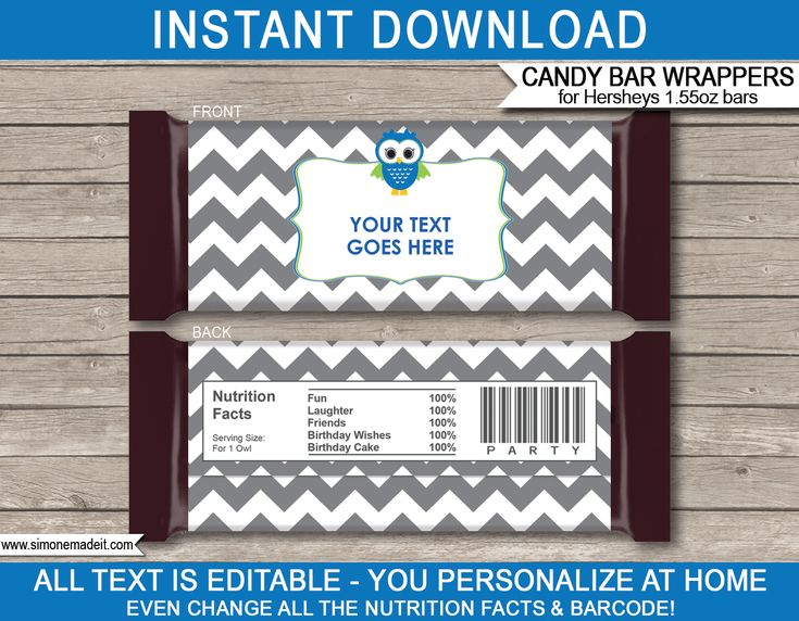 Owl Party Hershey Candy Bar Wrappers | Gray Blue Green | Birthday Party Favors | Personalized Candy Bars | Editable Template | INSTANT DOWNLOAD $3.00 via simonemadeit.com