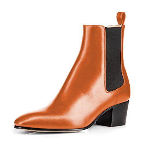 FSJ Orange Ankle Boots for Women - #FSJ #Orange #ankle #boots