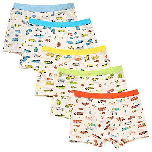 CHIC-CHIC Boxer Slip Lot de 5 Garçon Bébé Enfant Culotte Pantalon Sous-Vêtement en Coton Motif Mignon Voiture: Marque-De feuilless-,…