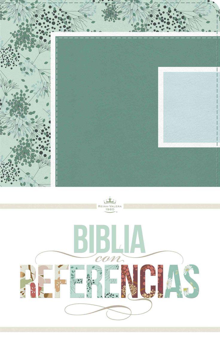Biblia con referencias: Reina-valera 1960, abstracto, verde mar / celeste, simil piel / Abstract, Seafoam /