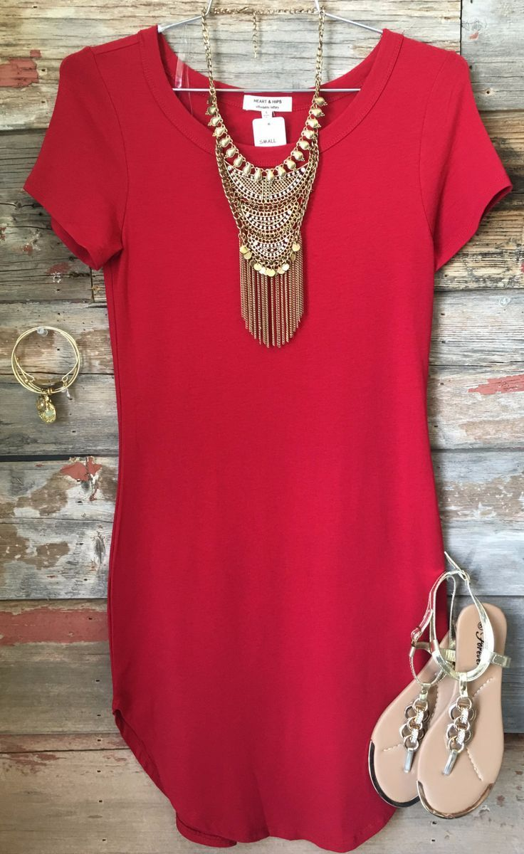 Fun in the Sun Tunic Dress: Ruby Red from privityboutique Gold statement jewellery  Holiday fashion summer fashion