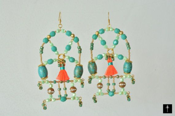 Turquoise Chandelier Bollywood style Statement Earrings by BYTWINS