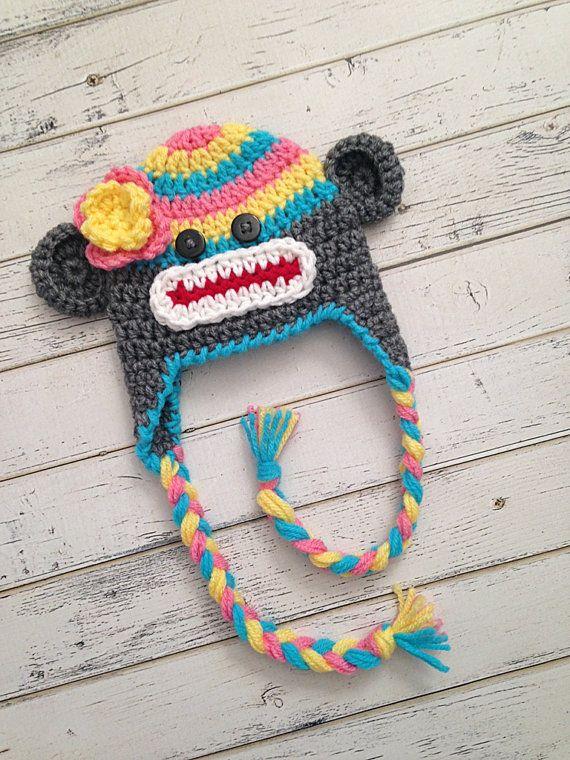 Crocheted Sock Monkey Hat Rainbow Hat Rainbow by NewYarnCreations #sockmonkey #sockmonkeyhat #crochetsockmonkey