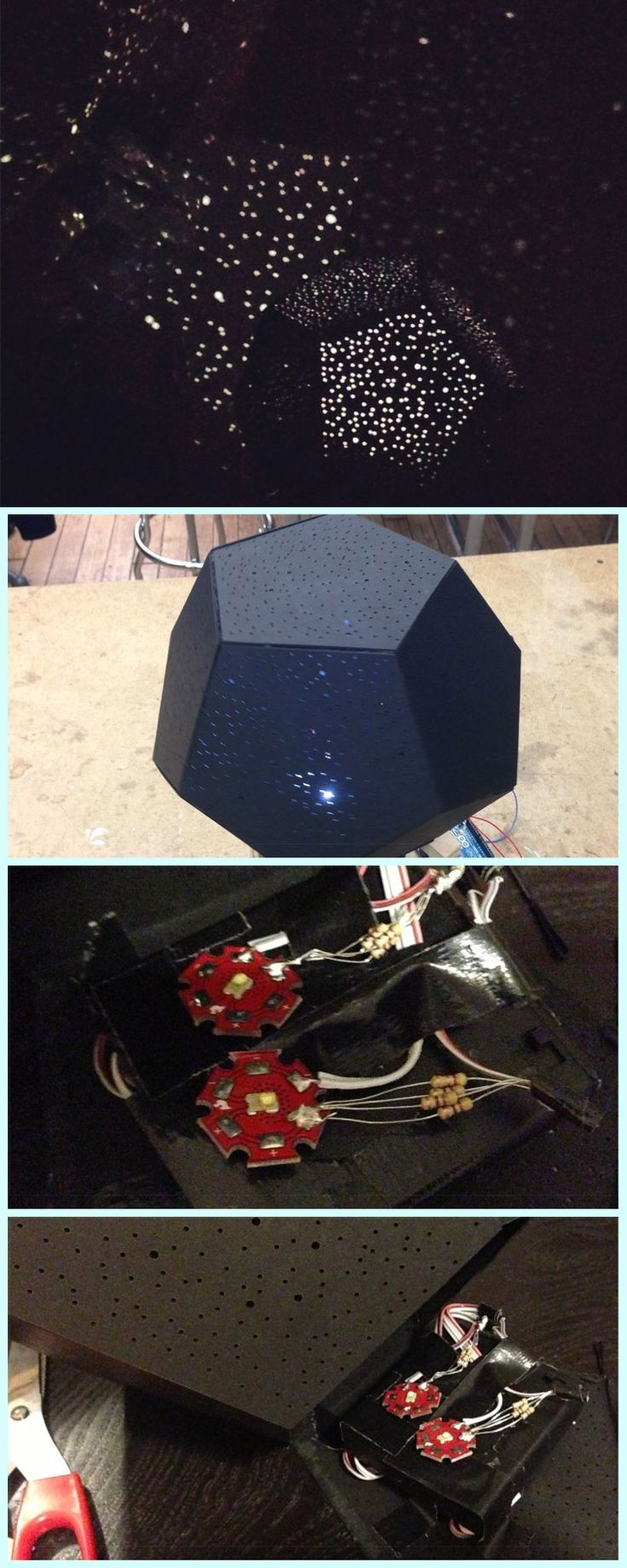 Project a constellation of stars on your ceiling! A fun DIY electronics project for a kid's room.