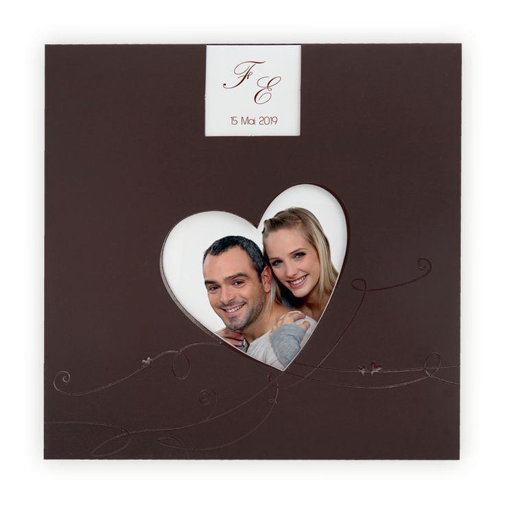 Faire part mariage avec photo  Coeur découpé/chocolat & vernis sélectif