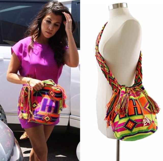 "Gorgeous ""Kourtney Kardashian"" wearing our ""Colombia is Passion"" Mochila Bag in Beverly Hills"