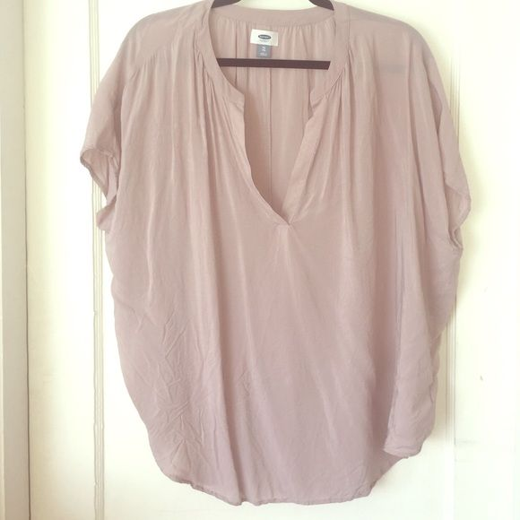 Light pink cap sleeve blouse - summer status! Worn once! 100% rayon blouse - very soft - cute for summer with shorts and wedge sandals!  Old Navy Tops Blouses