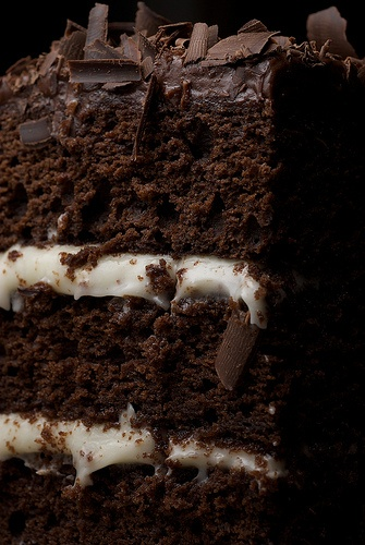 ❥ Chocolate Layer #Cake with Cream Cheese Frosting. (I'm just gonna fall into this picture and swim in that gorgeous chocolate!) <3