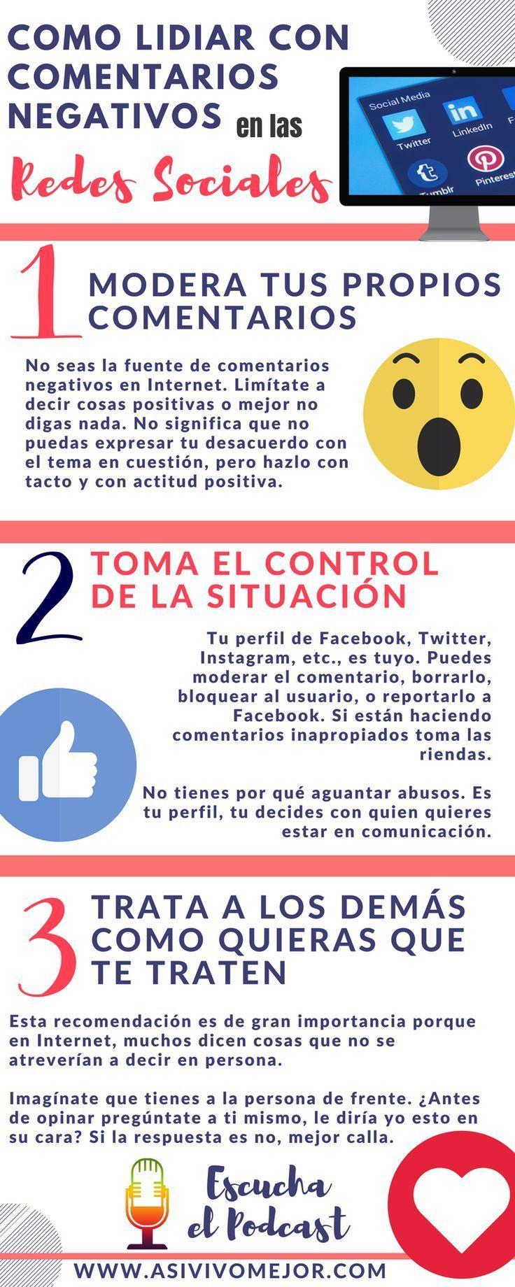 Como lidiar con los comentarios negativos en las redes sociales? En el capitulo 16 de #AsiVivoMejor #podcast comparto 3 #estrategias para manejar las criticas en #internet #redessociales #marketing #mercadeo #emprende #liderazgo #infografia