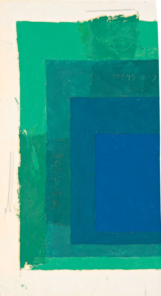 Josef Albers - Color Study for Homage to the Square, oil on blotting paper. 33,3 x 18,4 cm