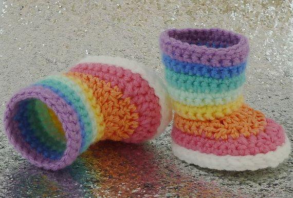 PDF CROCHET PATTERN - Kaleidoscope - Striped Boots for American Girl Dolls - Instant Download
