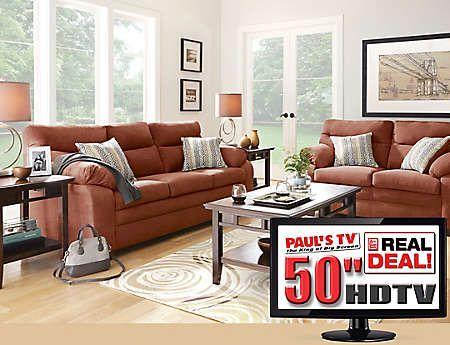 7 Piece Living Room Package With Tv Art Van Furniture Bucket List Pinterest Tvs Living