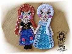Crochet PATTERN, FROZEN, Applique, Princess Anna, Queen Elsa, Special deal 2in1…