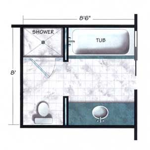 bathroom floor plan-I would swap the shower/bath with the toilet/sink...