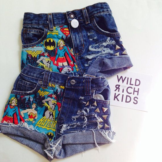 Supergirl - bat woman - Wonder Woman - Superwoman Studded Denim Shorts