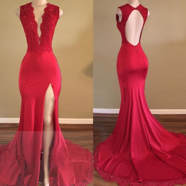 Appliques Red Satin Prom Dresses 2017 Sexy Party Dresses Long Open Back Party Dresses Women Evening DressesMermaid Formal Gowns High Slit