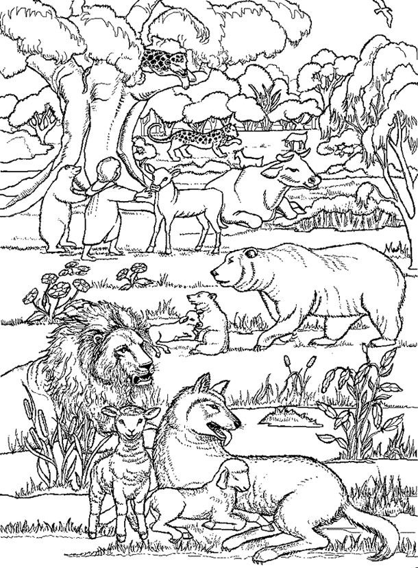 Peaceable Kingdom By Edward Hicks Coloring Page Not Actual Picture But Similar