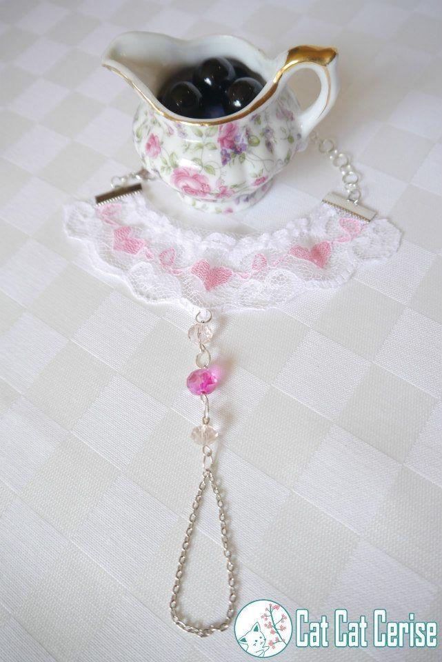 Pulsera con anillo de cadena Amor. Dulce y tierna. www.facebook.com/catcatcerise #lolita #pink #jewelry #rosa #joyeria
