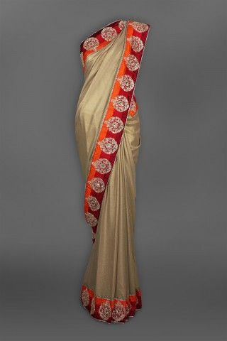 Featuring this beautiful Gold Shimmer Georgette Sari in our wide range of Saris. Grab yourself one. Now!
