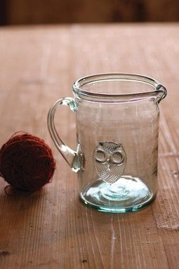 Owl Glass Pitcher
