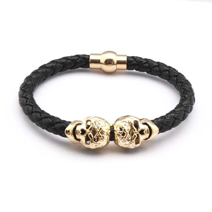 2016 Hot Selling Fashion Braided Leather Bracelets Gold Plated Skull Bracelet Men Punk Wrap Bracelet Women Jewelry