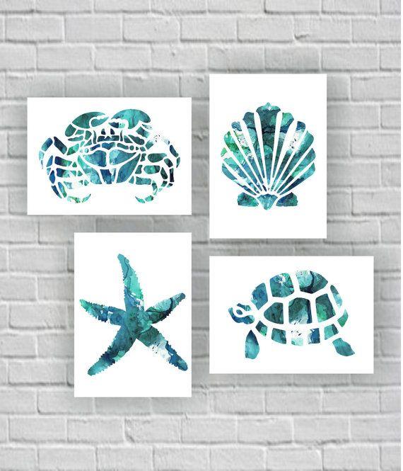 Sea Turtle Crab Starfish Sea shell silhouette watercolor Printable Wall Art Set of 4, 8х10 bathroom instant download digital art print