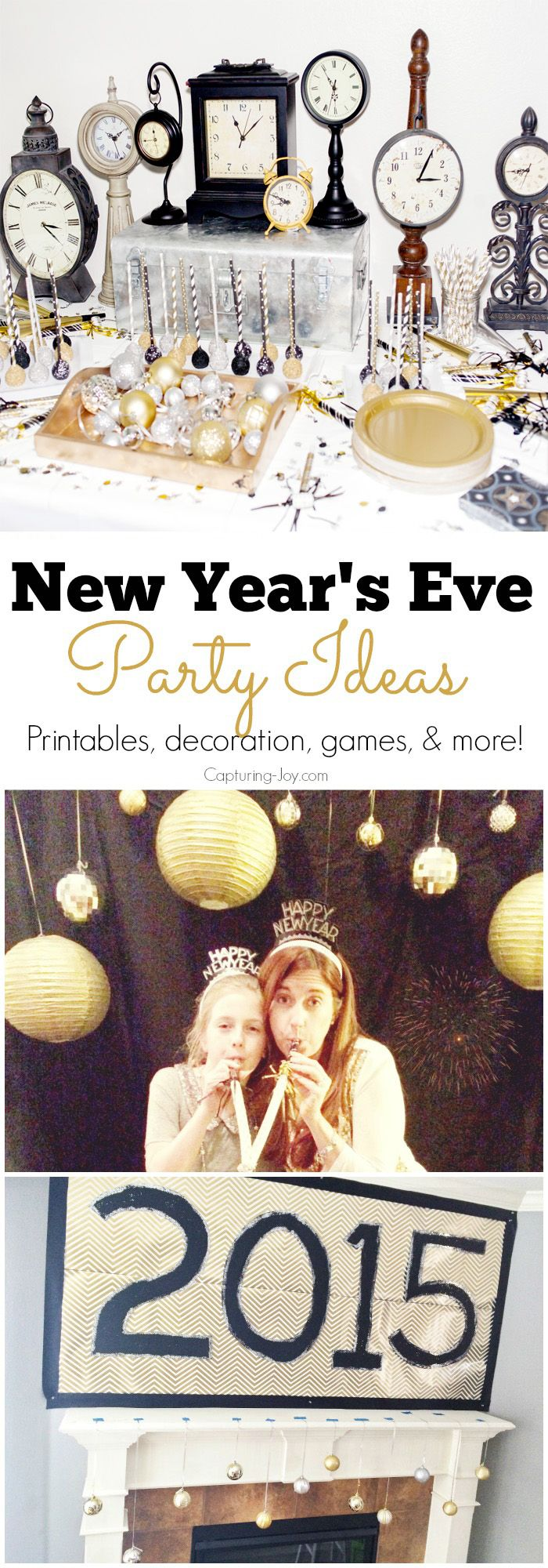 New Years Eve Party Ideas with prints games decorations