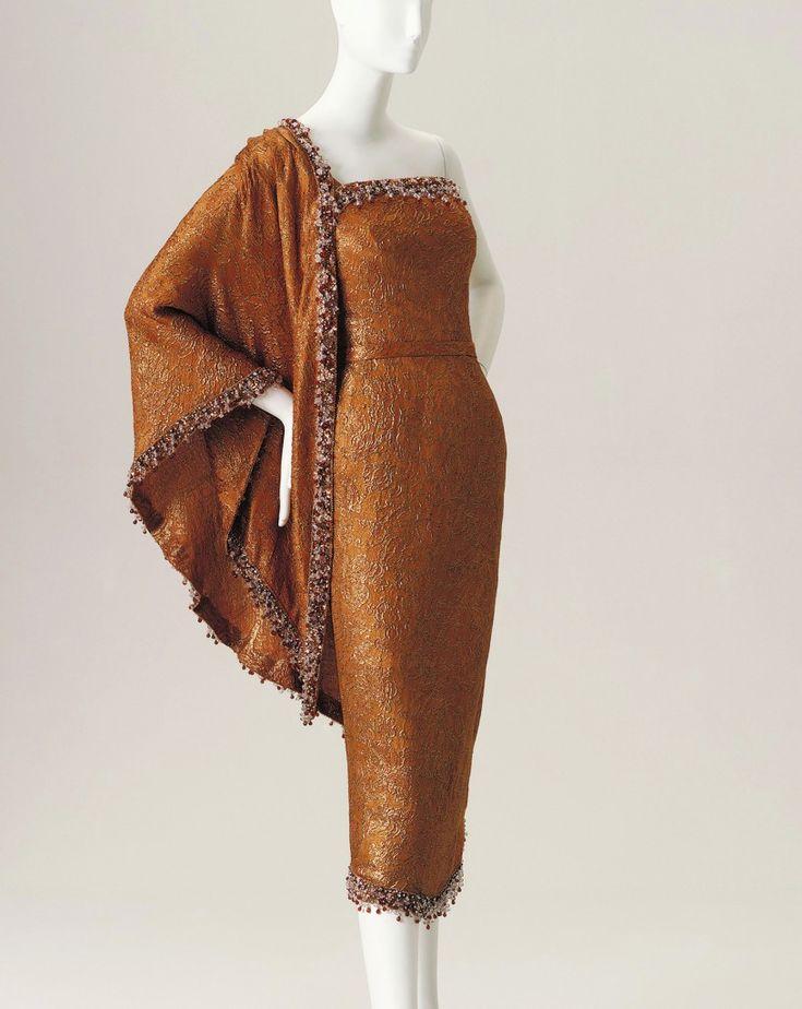 Balenciaga copper silk sari-inspired dress owned by Elizabeth Taylor, 1964
