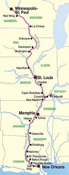 Complete Mississippi River Cruise Map