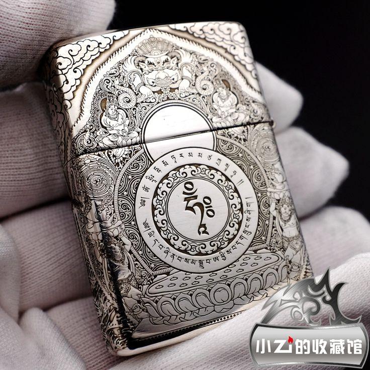 Genuine ZIPPO windproof lighter sterling silver five carved white Tara Buddhist bodhisattva limited lettering
