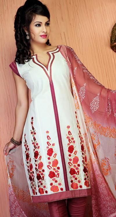 $45.09 White A Line Embroidered Cotton Churidar Salwar Suit 26145