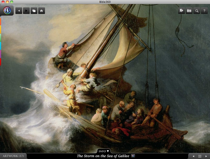 The Storm on the Sea of Galilee. Bible360 is a free interactive socially-enabled app that brings the scripture to life through video, photos, maps, virtual tours, reading plans and more! Download it for FREE, www.bible360.com