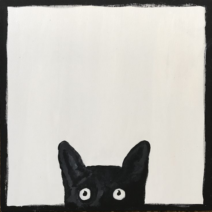 Sneaky cat  By Ehses Acrylic kn canvas  30x30cm  Sold