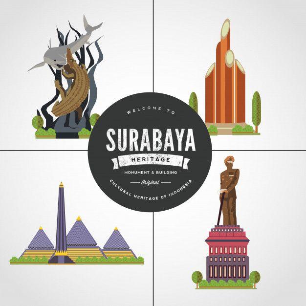 Flat Design Monument Of Surabaya East Java Indonesia Vol 1 Surabaya Graphic Design Posters Wings Icon