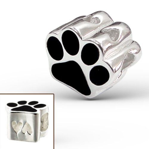 925 Sterling Silver Puppy Dog Paw Print Pawprint Charm Bead Fits Pandora Charm Bead Bracelet - http://www.thepuppy.org/925-sterling-silver-puppy-dog-paw-print-pawprint-charm-bead-fits-pandora-charm-bead-bracelet/