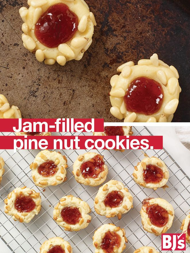 Homemade Holiday Cookies - Traditional Italian Christmas cookie recipe made with strawberry preserves and pine nuts. A home-baked holiday gift.https://www.pinterest.com/bjswholesale/pins/